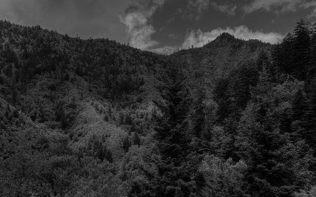 Chimney Tops In The Great Smoky Mountains National Park - Black and White