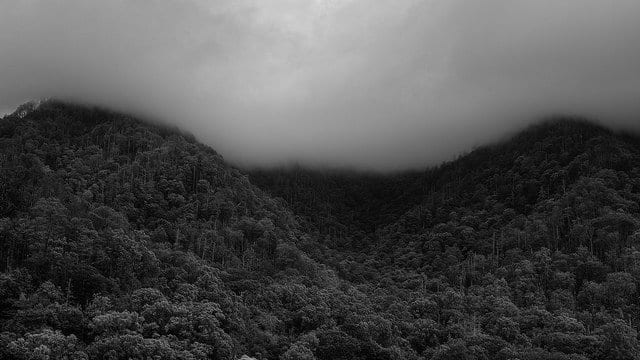 Storm clouds resting on the mountain tops in the Great Smoky Mountains National Park