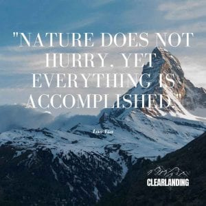 nature does not hurry, yet everything is accomplished - nature meme - clear landing