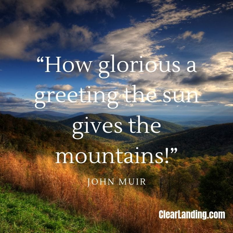 how glorious a greeting the sun gives the mountains nature meme by clear landing