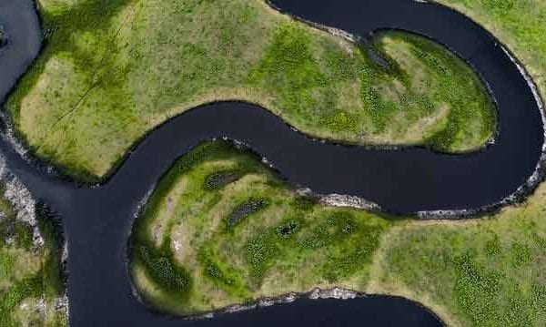 an aerial shot of the st johns river